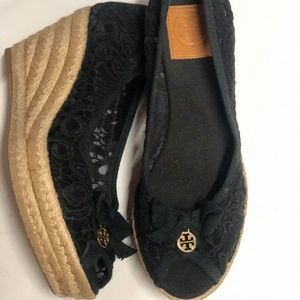 Tory Burch Black Lace Wedge Heel Espadrille Mismat